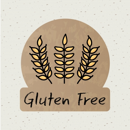 preservatives: gluten free label over beige background vector illustration