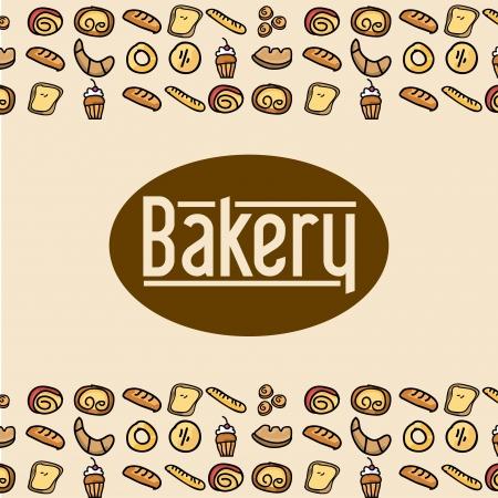 bakery label over pink background vector illustration  Vector