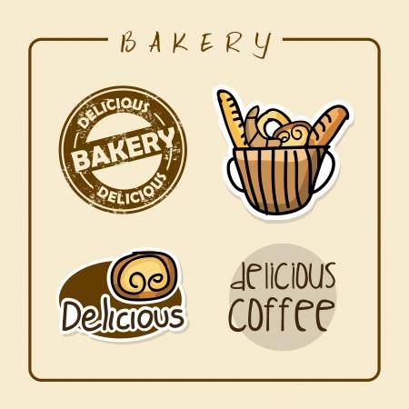 bakery labels over pink background vector illustration  Vector