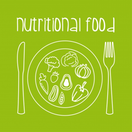 nutritional food over green background vector illustration   Ilustração