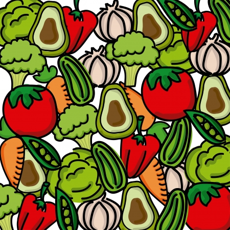 organic peppers sign: vegetables pattern over white background vector illustration