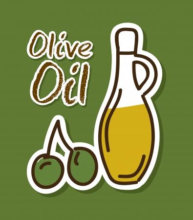 olive oil over green background vector illustration    Ilustração