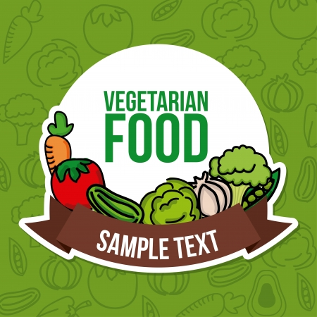 vegetarian  food over green background vector illustration Vector
