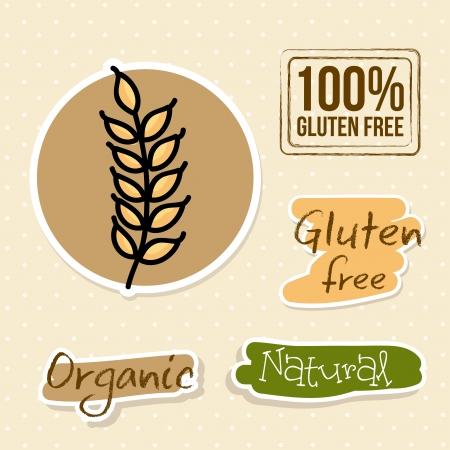 preservatives: gluten free labels over dotted background vector illustration  Illustration