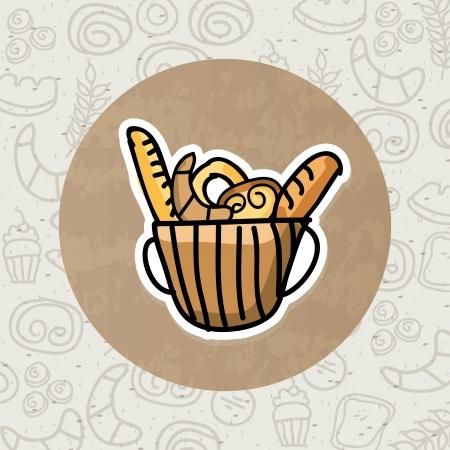 bakery design over beige background vector illustration   Vector