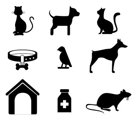 pets silhouettes over white background vector illustration  Vector