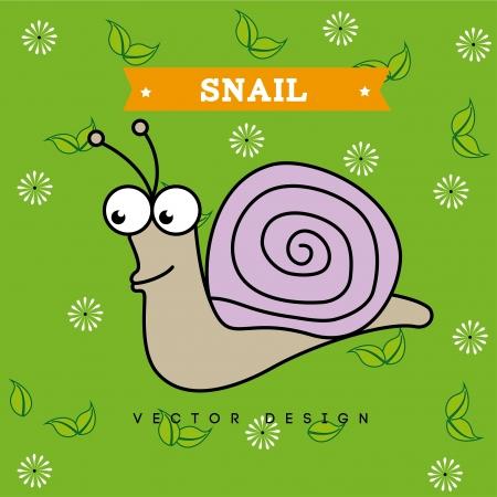 snail design over green background vector illustration  Vector