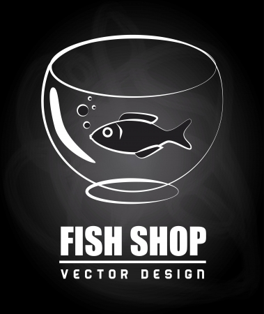 fish shop over black background vector illustration  Vector