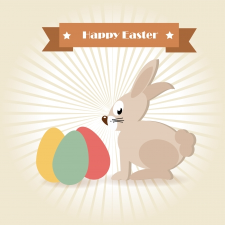 happy easter over pink background vector illustration  Vector