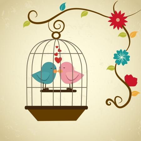love birds: birds love over cream background vector illustration  Illustration