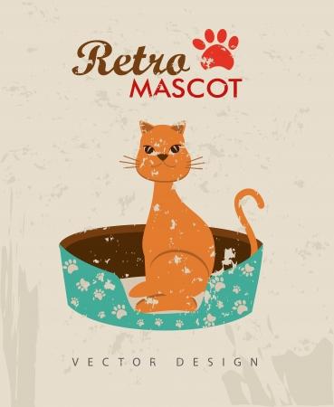 retro mascot over beige background vector illustration   Vector