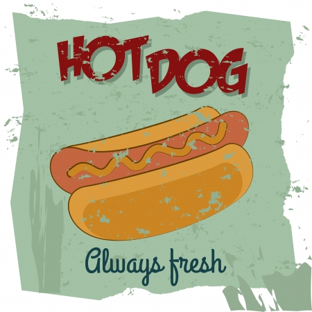 hot dog label over blue background vector illustration Vector