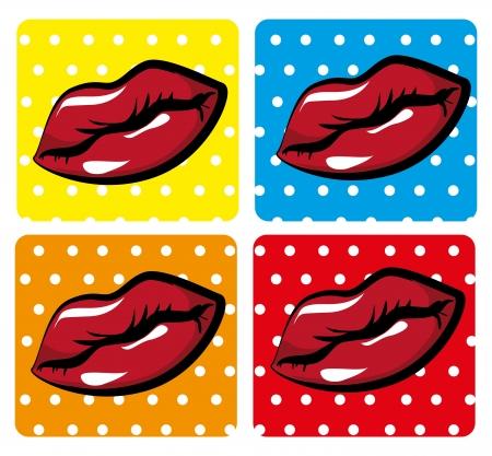 mouth design over dotted background vector illustration