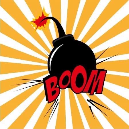 g�lle: Bomb Design �ber Grunge Hintergrund Vektor-Illustration Illustration