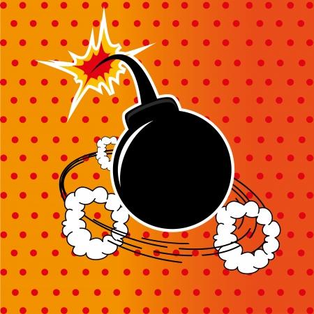 g�lle: Bomb Design �ber gepunkteten Hintergrund Vektor-Illustration