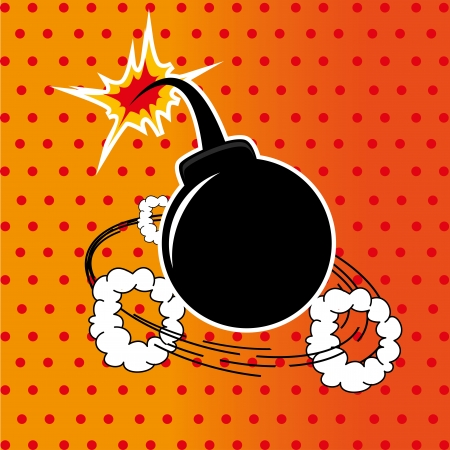 slurry: Bomb design over dotted  background vector illustration    Illustration