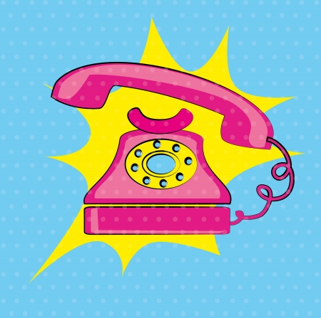old phone over dotted background vector illustration  Stock Vector - 21533113