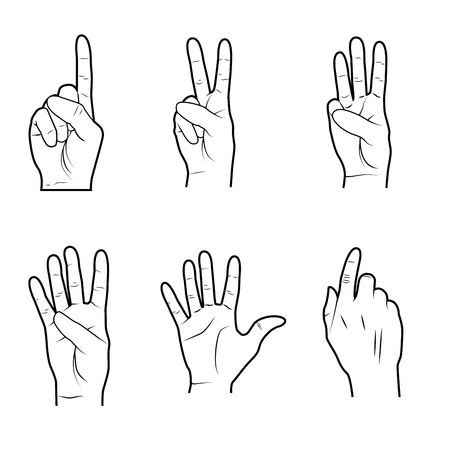 hands signals over white background vector illustration  Vector