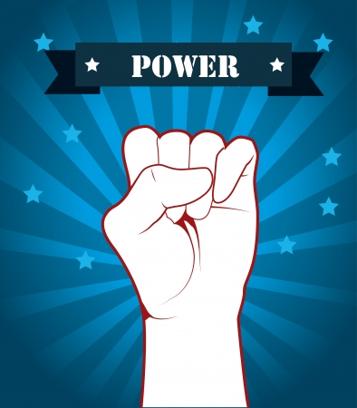 hand signal power over blue background vector illustration Stock Vector - 21533229