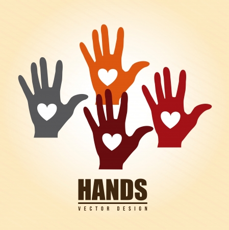 hands heart over cream background vector illustration   Illustration