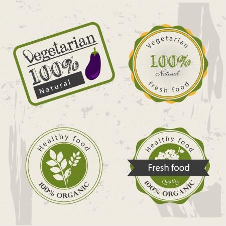 vegetarian food labels over vintage background vector illustration Vector