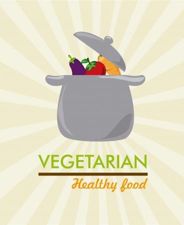 vegerarian healthy food over grunge background vector illustration  Vector