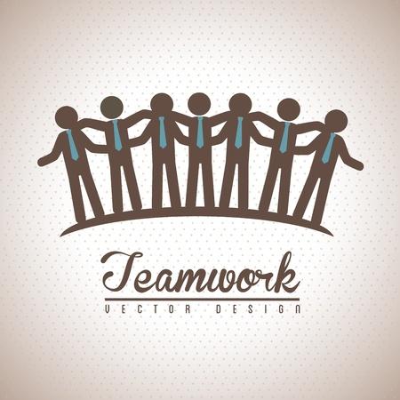 holding hands: teamwork design over vintage background vector illustration  Illustration