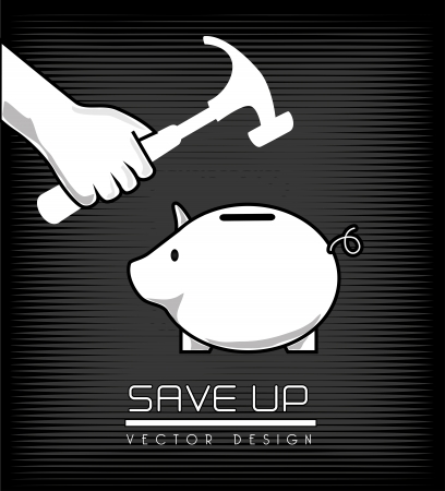 allocate: save up design over black background vector illustration