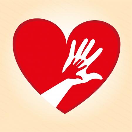 helping hand: heart design over cream background vector illustration