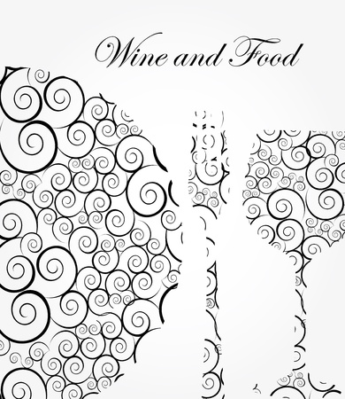 wine and food label over gray background