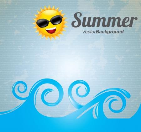 smyle: summer design over blue background  Illustration