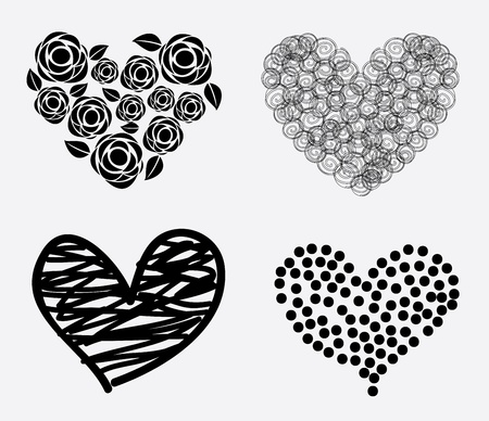 hearts icons over white background Vector