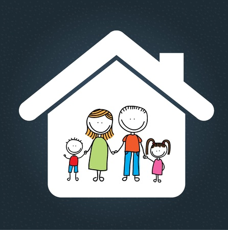 hand drawn cartoon: family design over blue background