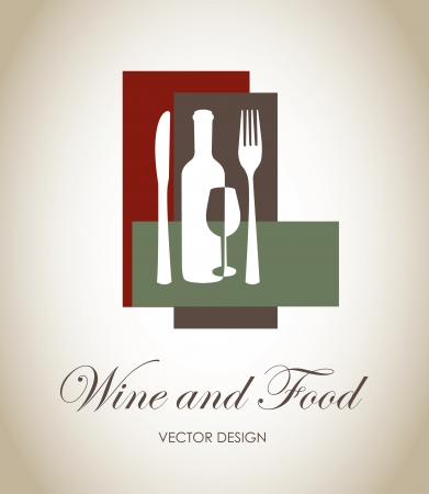 wine and food label over gray background  Vector