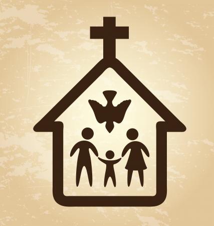 familia en la iglesia: diseño de la iglesia sobre fondo vintage