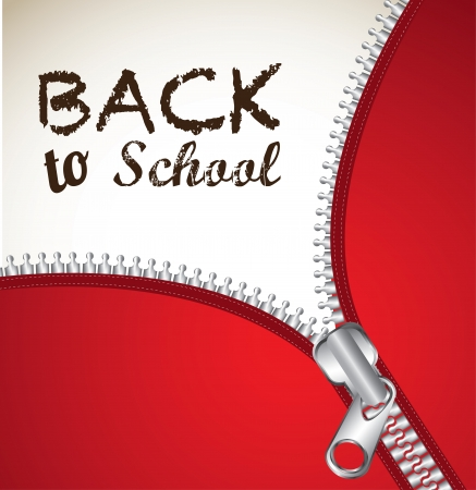 zipper back to school over beige background  Vector