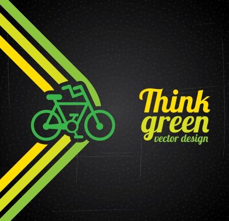 think green design over black background  向量圖像