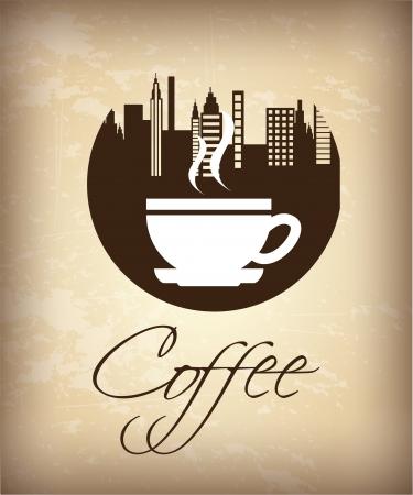 coffee design over vintage  background  Illustration