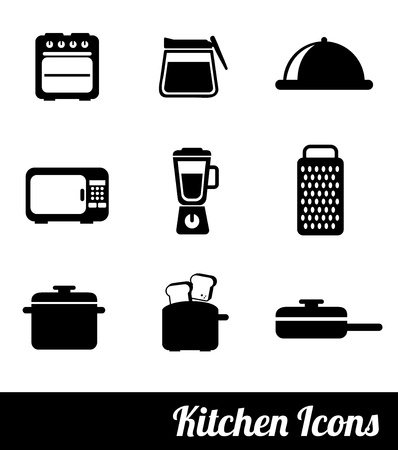 kitchen icons over white background