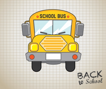 school bus icon over grid background  Vector