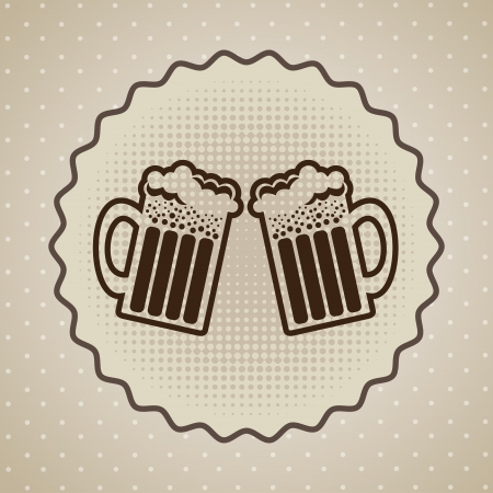 happy hours: �tiquette Beers sur fond pointill� Illustration