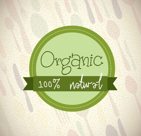 organic design over cutlery background  Vector
