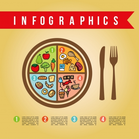 infographics nutrition design over pink background  Illustration