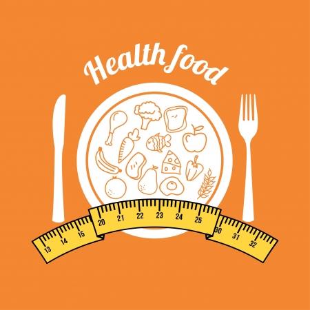 health food over orange background  Vector