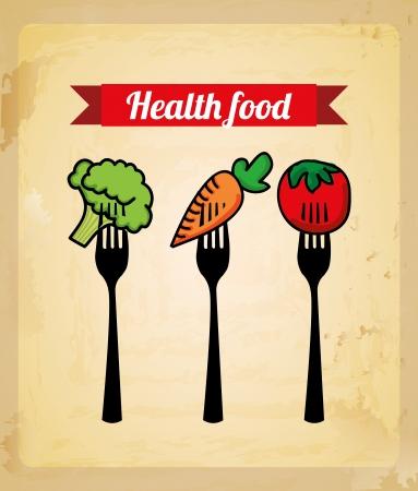 eating healthy: healthy food design over vintage background  Illustration