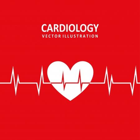 cardiology design over red background