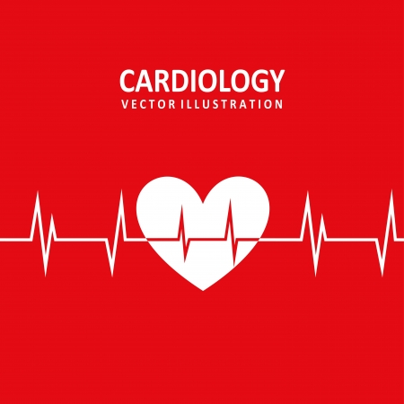 cardiology design over red background  Vector