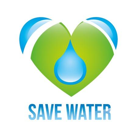 ahorrar agua: ahorrar agua sobre el fondo blanco