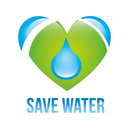 save water: save water over white background