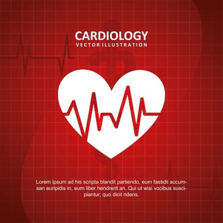 pulsating: cardiology design over blue background